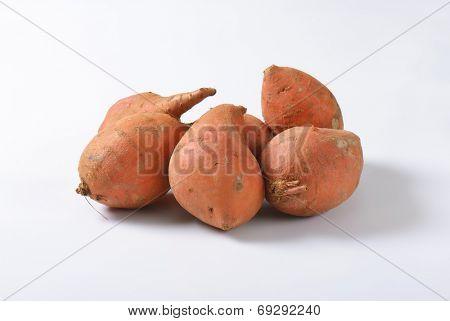 batata sweet potatoes on white background