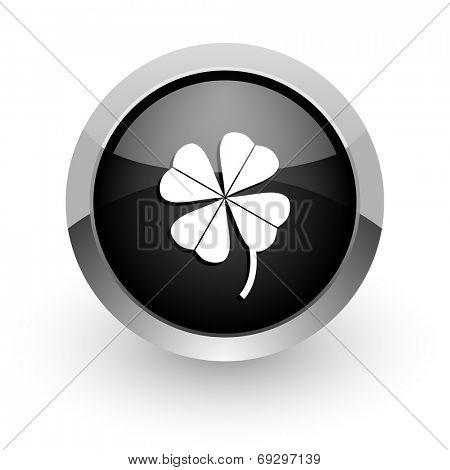 four-leaf clover black chrome glossy web icon