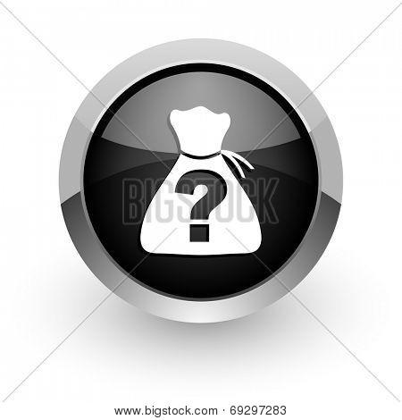 riddle black chrome glossy web icon