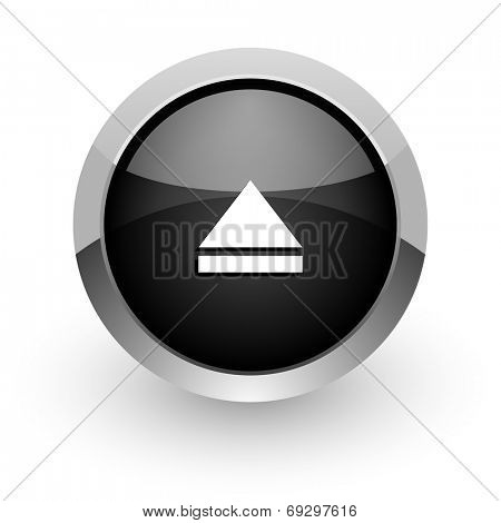 eject black chrome glossy web icon