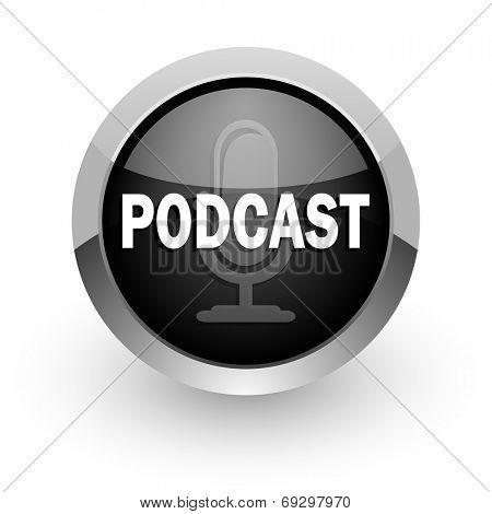 podcast black chrome glossy web icon