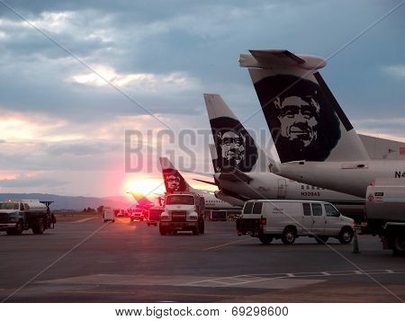Awesome Sunsets Over Row Of Alaskan Airlines Planes
