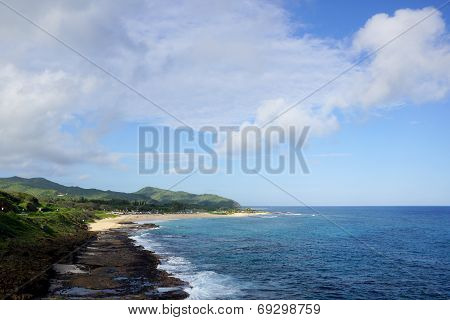 Sandy Beach Panoramic On The Southeast Side Of Oahu