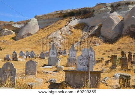 Muslim cemetery in little town of Uchisar