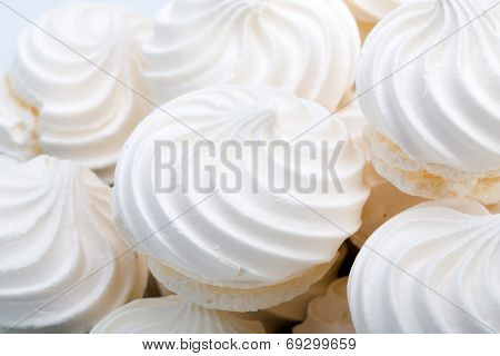 Close up of French vanilla meringue cookies