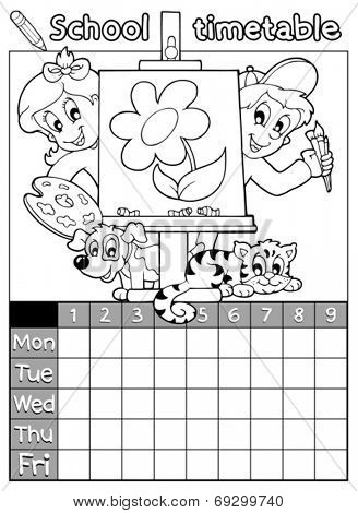 Coloring book timetable topic 1 - eps10 vector illustration.