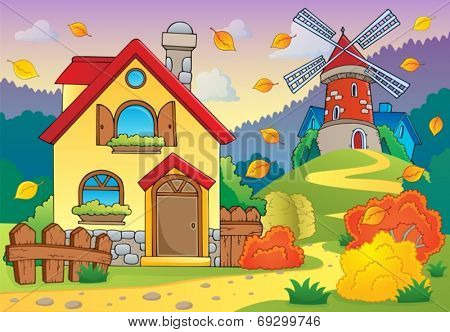 Autumn theme house and windmill - eps10 vector illustration.