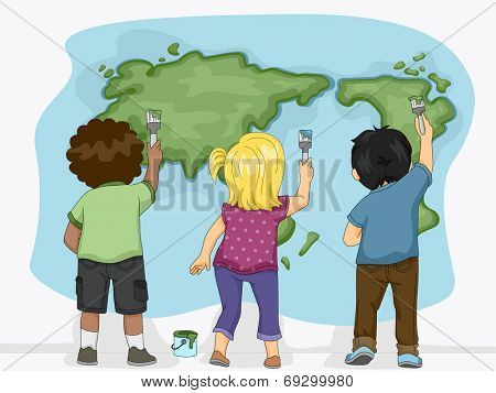Illustration Featuring Little Kids Painting a Map of the Earth