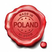 stock photo of credential  - made in Poland red wax seal over white background - JPG