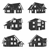 stock photo of suburban city  - set of black and white silhouette icons of houses - JPG