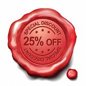 pic of credential  - 25 percent off red wax seal over white background - JPG