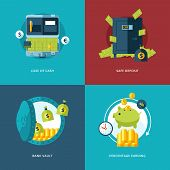 picture of bank vault  - Vector finance and money icons set - JPG