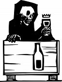 foto of skeleton  - Woodcut style image of the skeleton death sitting at a table drinking a glass of wine - JPG
