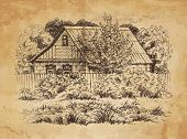image of farmhouse  - Rural landscape with old farmhouse - JPG