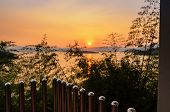 stock photo of chan  - High angle view beautiful lake at sunset from resort in Kaeng Kra Chan National Park Phetchaburi Province Thailand - JPG