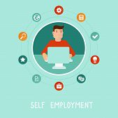 pic of self-employment  - Vector self employed man in flat style  - JPG