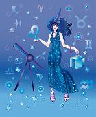 Постер, плакат: Девочка астролог с знак Зодиака Лев персонажа