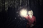 pic of cloak  - Young woman in red cloak with lantern lost in forest - JPG