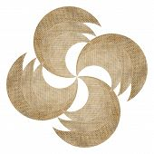 pic of wind wheel  - brown burlap wind wheel isolated on white - JPG