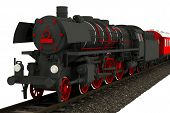 pic of locomotive  - Isolated Old Locomotive Illustration - JPG