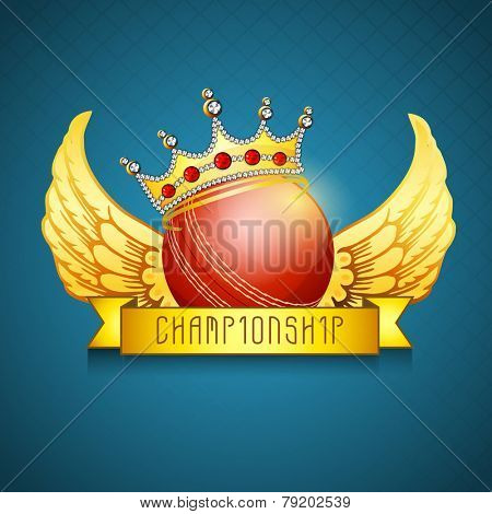 Red ball in decorated crown with golden wings for Cricket Championship on shiny blue background.