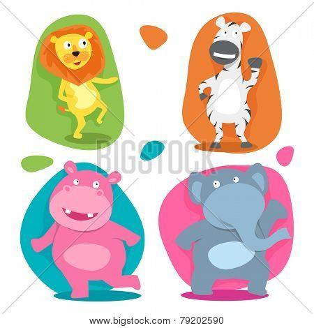 Set of four funny cute cartoon character of wild animal like, lion, zebra, elephant and hippopotamus on beige background.