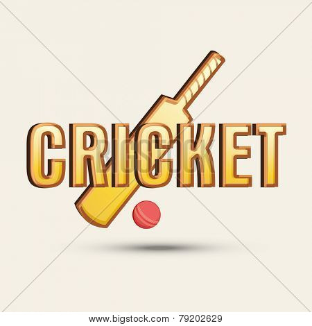 Cricket sports concept with bat, ball and stylish text.