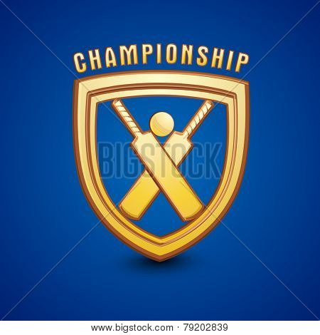 Golden shield for Cricket Championship on shiny blue background.