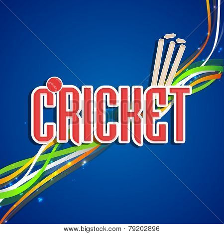 Stylish text Cricket with red ball, wicket stumps and national tricolor stripes on shiny blue background, can be used as poster or banner design.