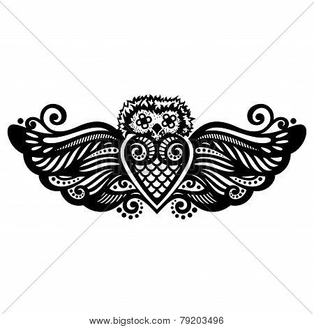 Vector Patterned Owl. Tattoo Design
