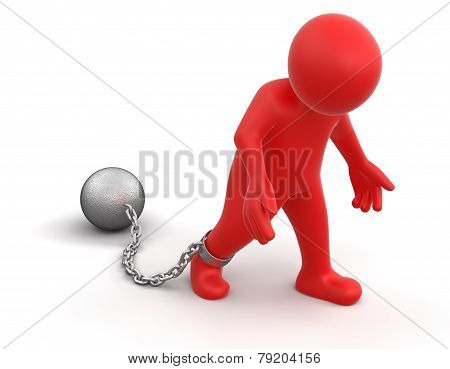 chained man (clipping path included)