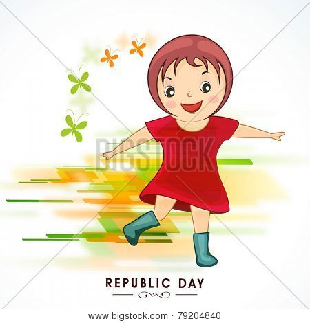 Cute little girl celebrating Indian Republic Day with national flag color butterflies on colorful abstract background.