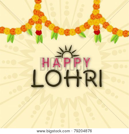 Poster, banner or flyer with traditional flowers decorated for Punjabi festival, Happy Lohri celebration.