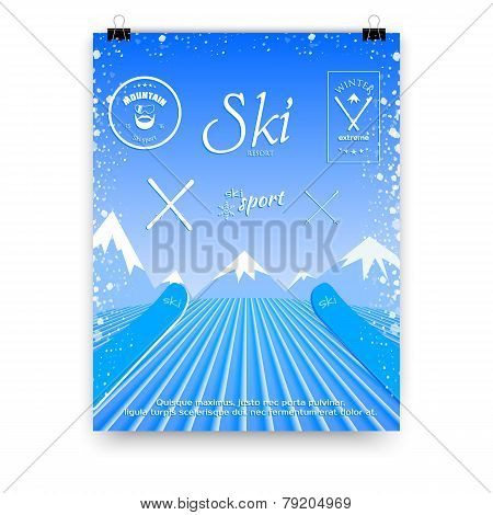 A poster with a picture of a skier who descends from the mountain top. Vector illustration of a ski