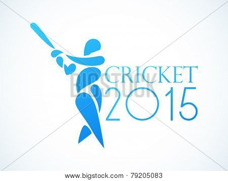 Cricket 2015 concept with batsman in playing action.