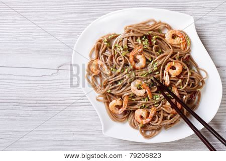 Soba With Shrimp And Chopsticks Horizontal View From Above