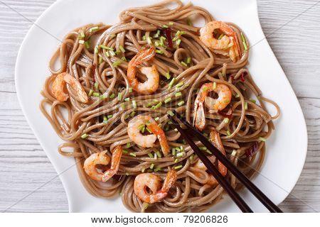 Soba With Shrimp And Chopsticks  Close-up. Horizontal Top View