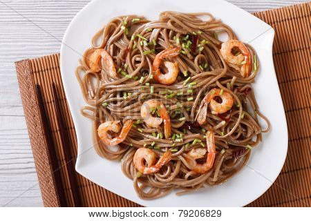 Buckwheat Soba Noodles With Shrimp Close-up. Horizontal Top View