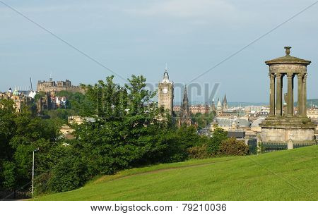 Edinburgh skyline and Dugald Stewart Monument as seen from Calton Hill