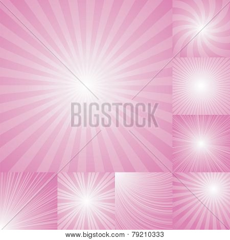 collection of pink color burst background.