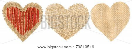 Heart Shape Sackcloth Patch, Valentine Day Burlap Decorative Object Isolated White Background
