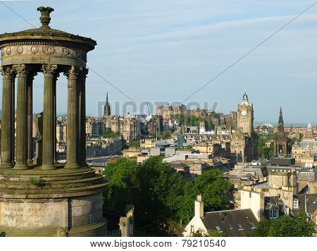 Edinburgh skyline and Dugald Stewart Monumentas seen from Calton Hill
