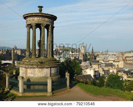 Dugald Stewart Monument and Edinburgh Skyline
