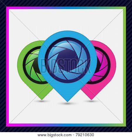 Aperture blue design elements for website or app.