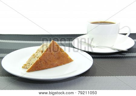 Cup Of Coffee And Banana Cake