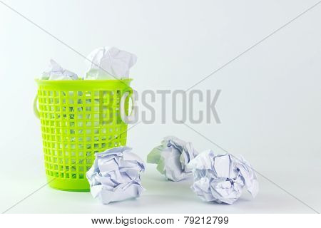 Trash Bin And Crumpled Paper Balls