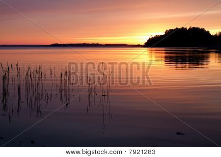 Sunset in Stockholm`s archipelago.