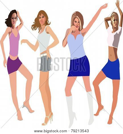 Dancing Girls - Stock Vector Illustration