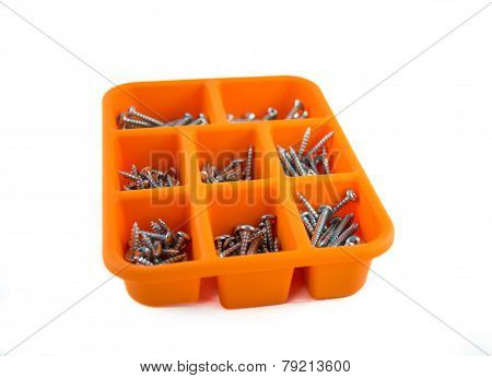 Orange Box Of Screws On White Background 01