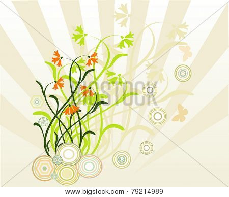 Vector illustration with spring green leaves